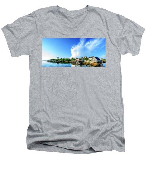 Peggys Cove Men's V-Neck T-Shirt by Ken Morris