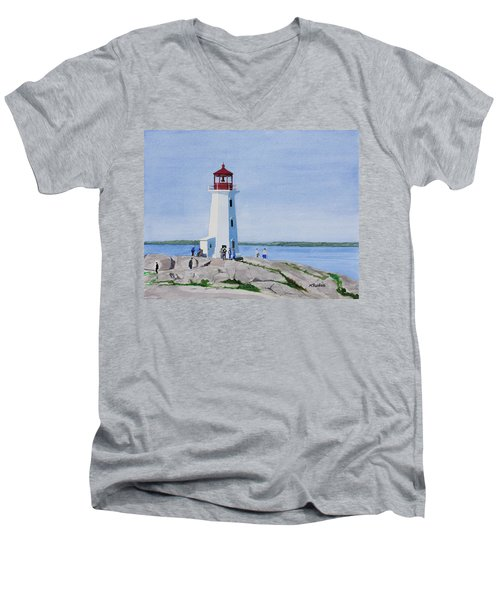 Peggy's Point Lighthouse Men's V-Neck T-Shirt by Mike Robles