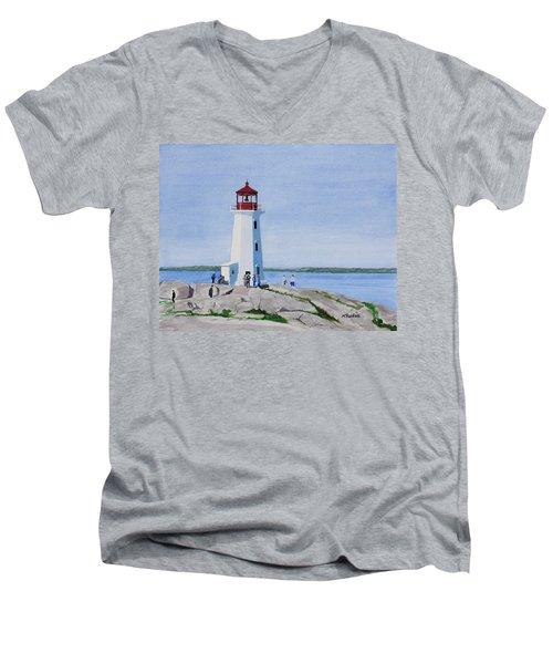 Peggy's Point Lighthouse Men's V-Neck T-Shirt