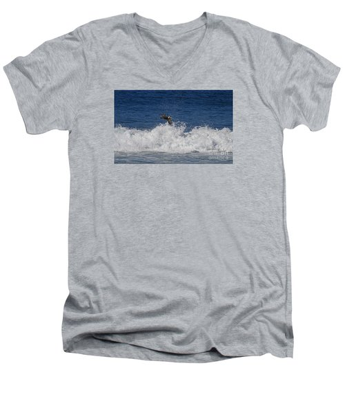 Pelican And Waves Men's V-Neck T-Shirt