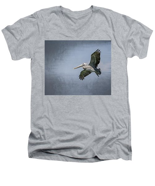Men's V-Neck T-Shirt featuring the photograph Pelican Flight by Carolyn Marshall
