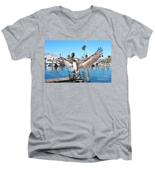 Pelican Flying In Men's V-Neck T-Shirt by Megan Dirsa-DuBois
