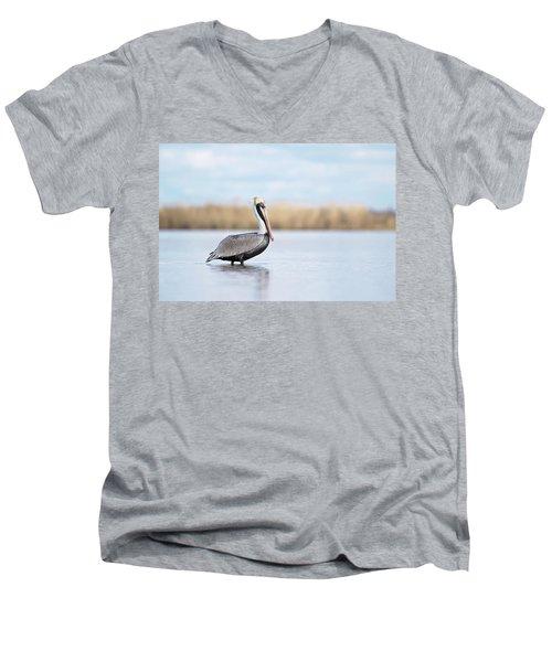 Pelican In Paradise Men's V-Neck T-Shirt