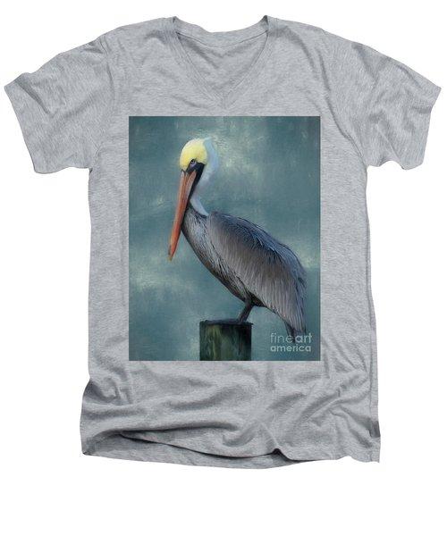 Men's V-Neck T-Shirt featuring the photograph Pelican Portrait by Benanne Stiens