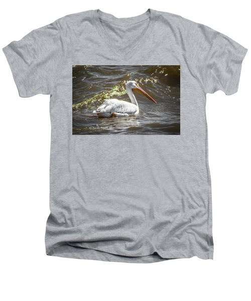 Pelican Profile Men's V-Neck T-Shirt by Ray Congrove