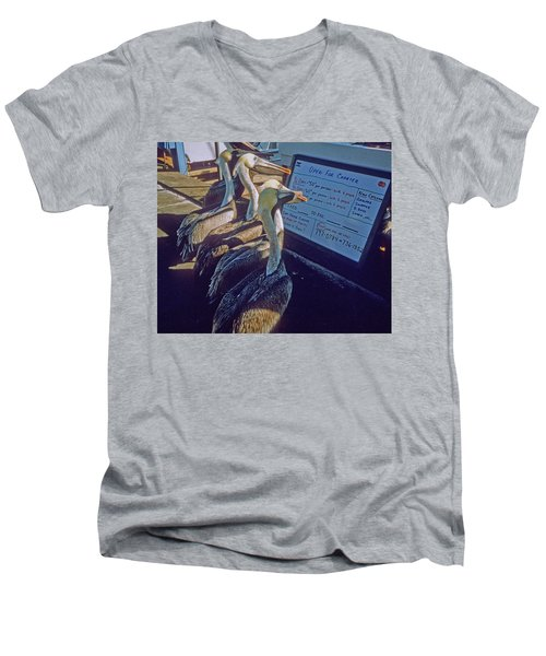 Pelicans And The Menu Men's V-Neck T-Shirt