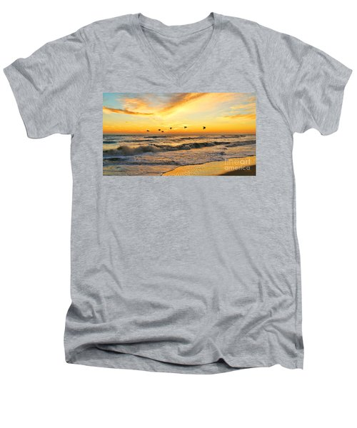 Pelicans At Sunrise  Signed 4651b 2  Men's V-Neck T-Shirt