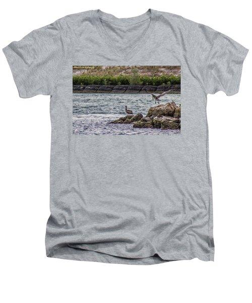 Pelicans  Men's V-Neck T-Shirt by Nance Larson