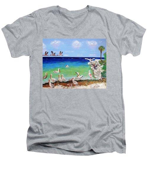 Pelicans Men's V-Neck T-Shirt by Vicky Tarcau