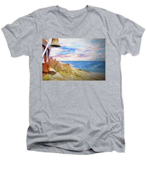 Pemaquid Lighthouse Bell On Maine Rocky Coast. Men's V-Neck T-Shirt