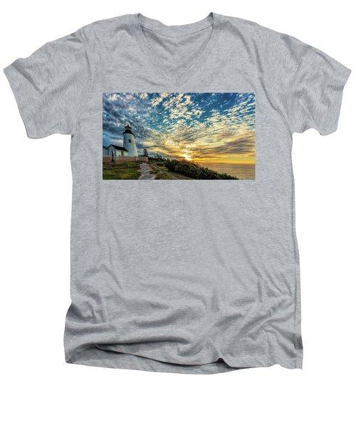 Pemaquid Point Lighthouse At Daybreak Men's V-Neck T-Shirt
