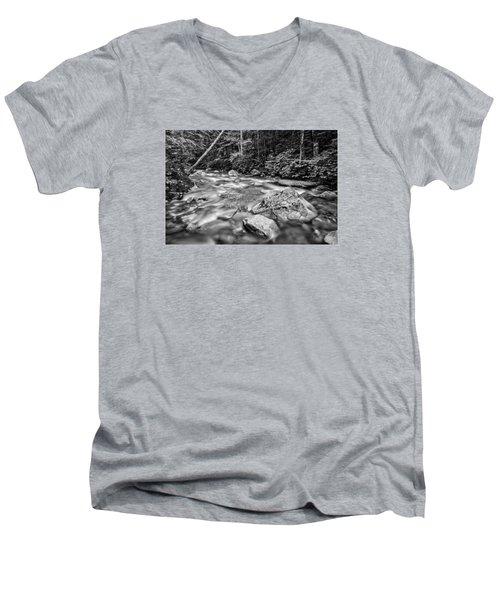 Pemi River Black-white Men's V-Neck T-Shirt by Michael Hubley