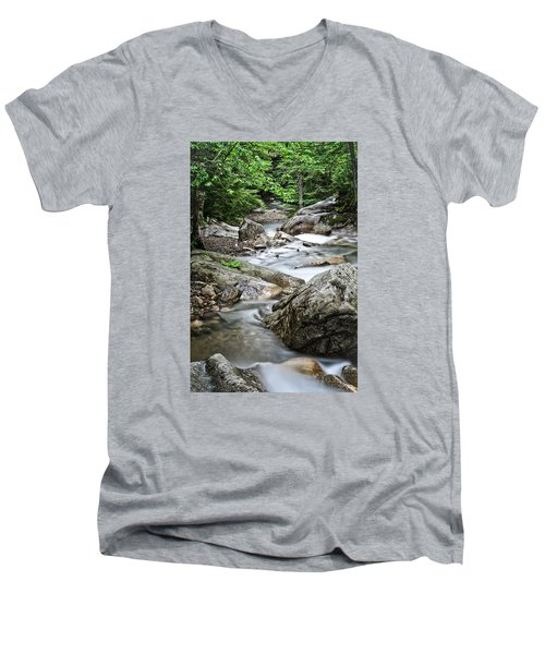 Pemigewasset River Nh Men's V-Neck T-Shirt by Michael Hubley