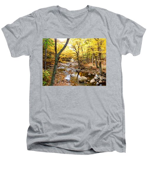 Pemigwasett River At The Flume Men's V-Neck T-Shirt