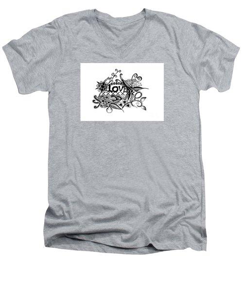 Pen And Ink Art Love Black And White Art Men's V-Neck T-Shirt by Saribelle Rodriguez