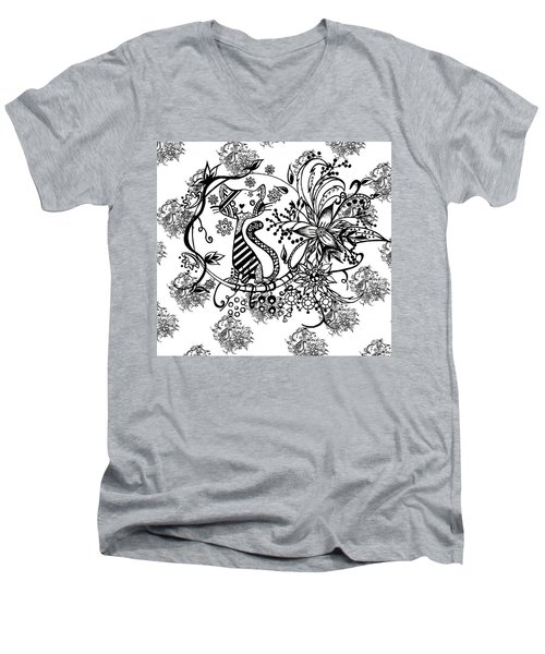 Pen And Ink Cat Pattern Black And White Men's V-Neck T-Shirt by Saribelle Rodriguez