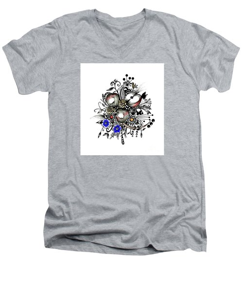 Pen And Ink Drawing Apples Wall Decor  Men's V-Neck T-Shirt by Saribelle Rodriguez