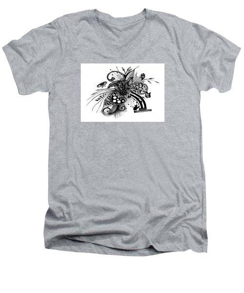 Pen And Ink Drawing Rose Men's V-Neck T-Shirt by Saribelle Rodriguez