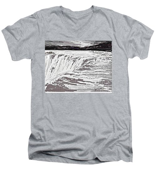 Men's V-Neck T-Shirt featuring the drawing Pencil Falls by Desline Vitto