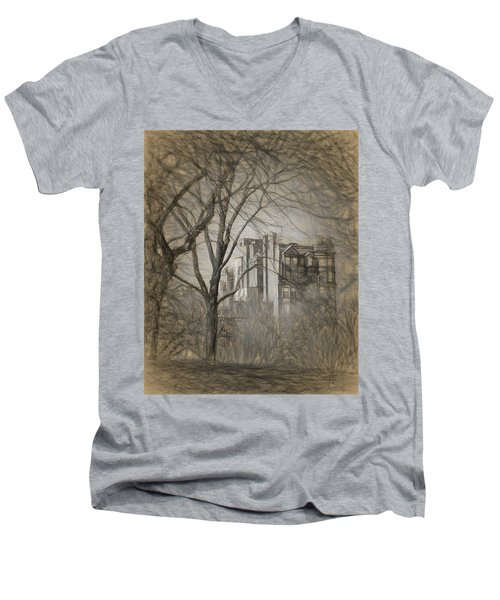 Pencil Sketch Of Beacon Hill Men's V-Neck T-Shirt