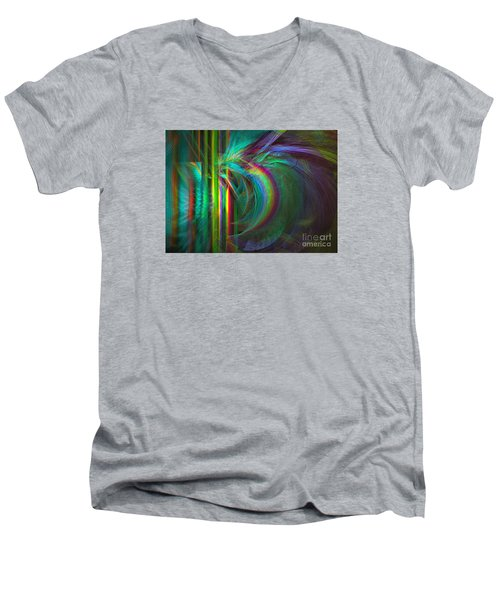 Penetrated By Life - Abstract Art Men's V-Neck T-Shirt by Sipo Liimatainen