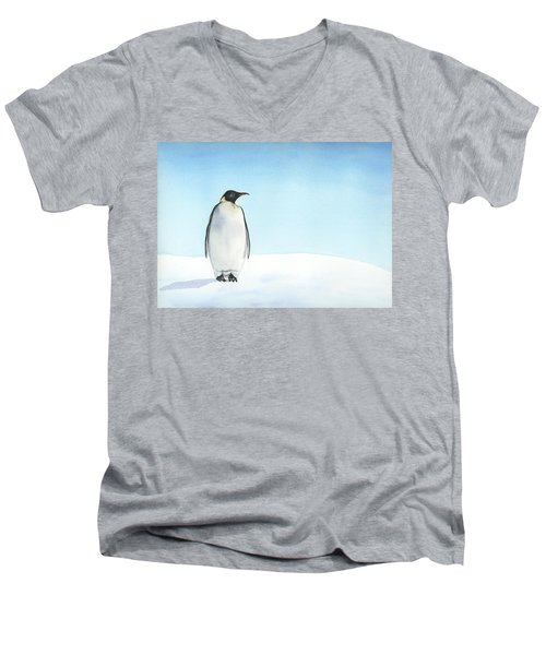 Men's V-Neck T-Shirt featuring the painting Penguin Watercolor by Taylan Apukovska
