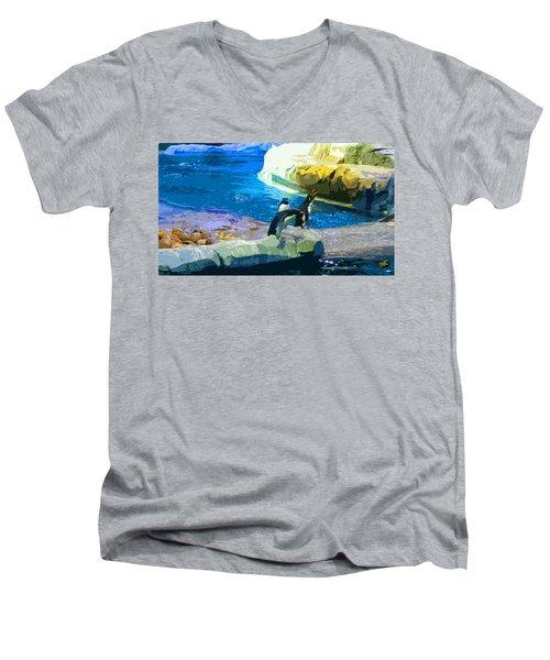 Penguins At The Zoo Men's V-Neck T-Shirt