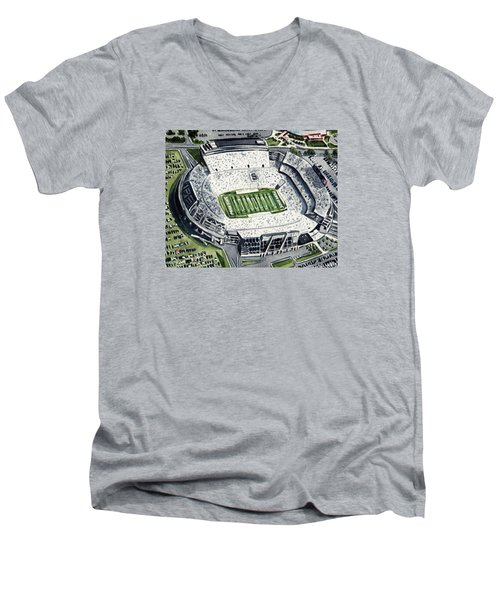 Penn State Beaver Stadium Whiteout Game University Psu Nittany Lions Joe Paterno Men's V-Neck T-Shirt by Laura Row