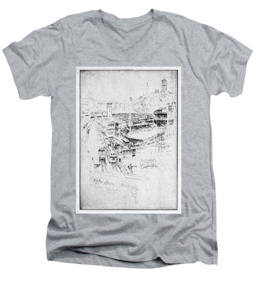 Men's V-Neck T-Shirt featuring the drawing Pennell Polo Grounds 1921 by Granger