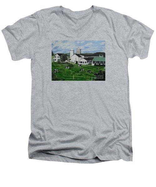 Pennsylvania Holstein Dairy Farm  Men's V-Neck T-Shirt by Francine Heykoop