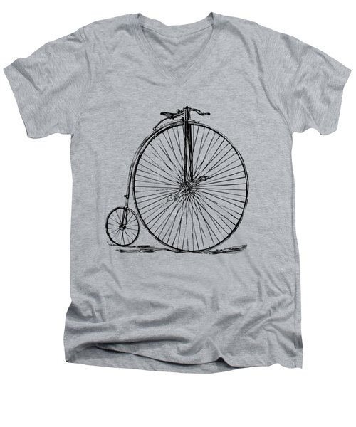 Men's V-Neck T-Shirt featuring the digital art Penny-farthing 1867 High Wheeler Bicycle Vintage by Nikki Marie Smith