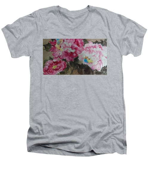 Men's V-Neck T-Shirt featuring the painting Peoney20161229 by Dongling Sun