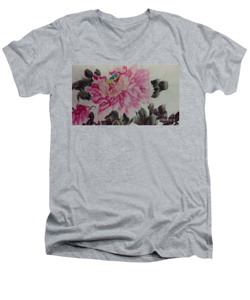 Men's V-Neck T-Shirt featuring the painting Peoney20161230_6247 by Dongling Sun