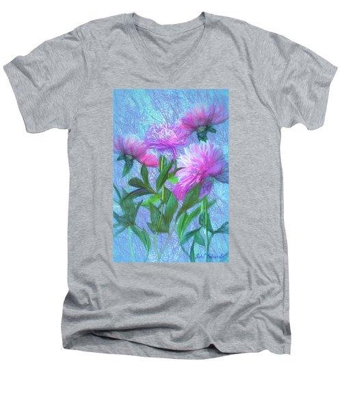 Men's V-Neck T-Shirt featuring the digital art Peonies #3 by John Selmer Sr
