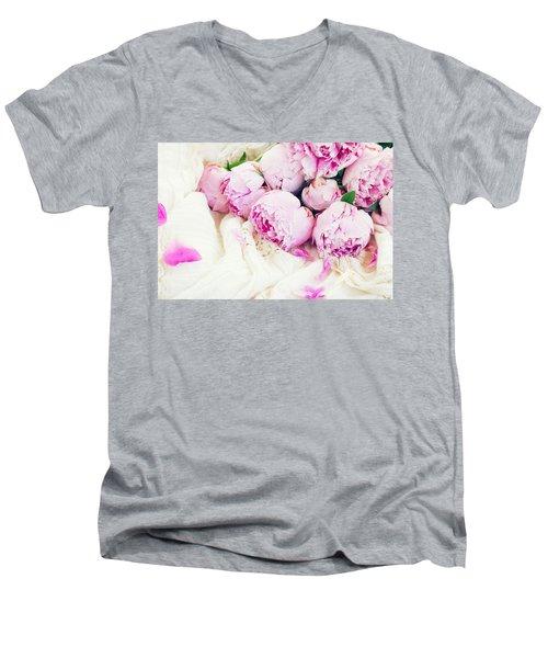 Peonies And Wedding Dress Men's V-Neck T-Shirt by Anastasy Yarmolovich