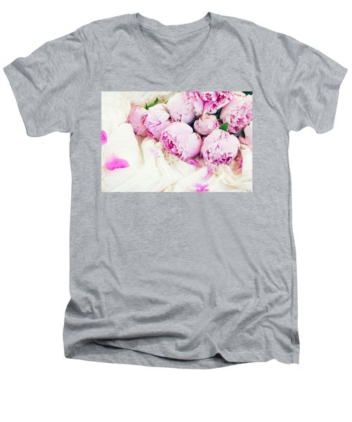 Peonies And Wedding Dress Men's V-Neck T-Shirt