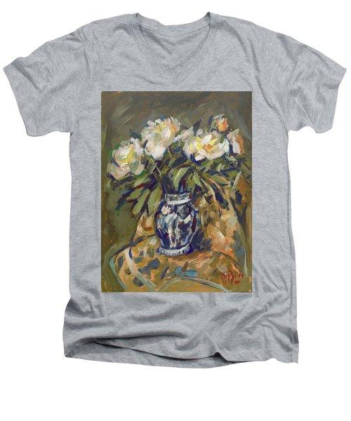 Peonies In Delft Blue Vase On Quilt Men's V-Neck T-Shirt