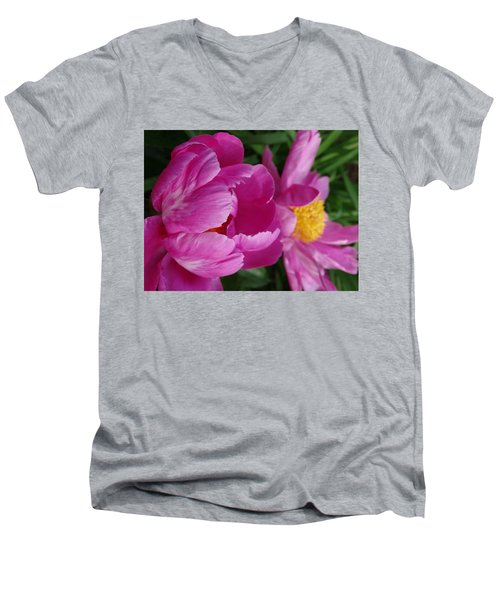 Peonies In Pink Men's V-Neck T-Shirt by Rebecca Overton