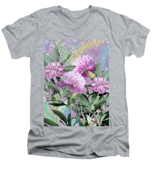Men's V-Neck T-Shirt featuring the digital art Peonies by John Selmer Sr