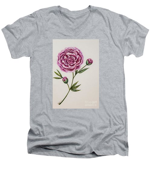 Men's V-Neck T-Shirt featuring the painting Peony Botanical by Elizabeth Robinette Tyndall