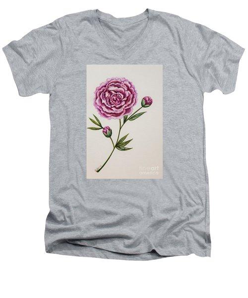 Peony Botanical Men's V-Neck T-Shirt by Elizabeth Robinette Tyndall