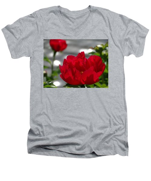 Peony In Red Men's V-Neck T-Shirt by Rebecca Overton