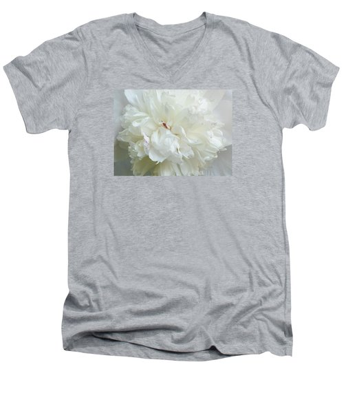 Peony In White Men's V-Neck T-Shirt