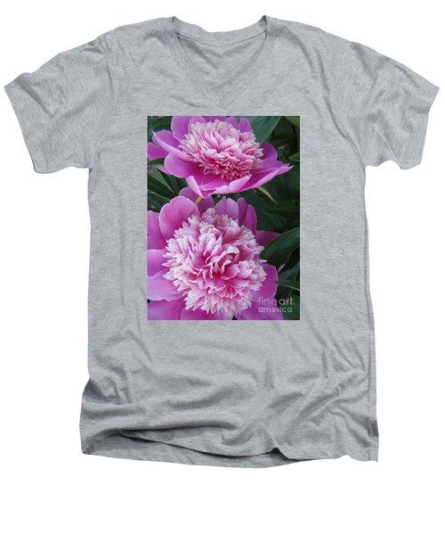 Peony Men's V-Neck T-Shirt by Kristine Nora