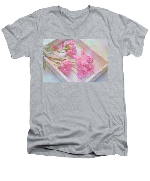 Peonies In White Box Men's V-Neck T-Shirt