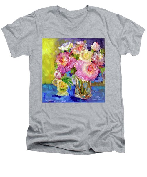 Men's V-Neck T-Shirt featuring the painting Peony Love by Rosemary Aubut