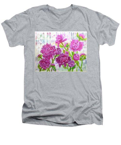 Peony Profusion Men's V-Neck T-Shirt