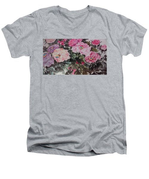 Men's V-Neck T-Shirt featuring the painting Peony20170126_2 by Dongling Sun