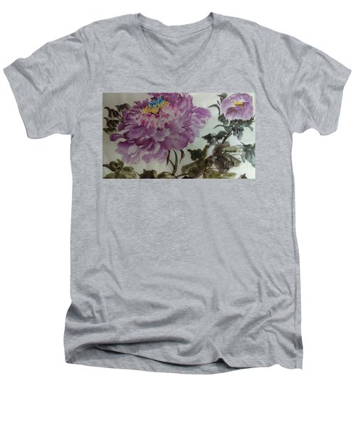 Men's V-Neck T-Shirt featuring the painting Peony20170213_1 by Dongling Sun