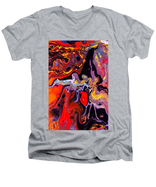 People - Abstract Colorful Mixed Media Painting Men's V-Neck T-Shirt by Modern Art Prints